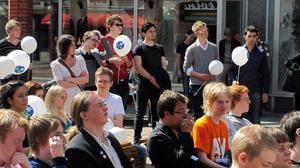 KDU:are från hela landet samlades på Sigmatorget i Västerås på lördagen i samband med årets riksmöte.