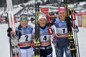 Krista Parmakoski, tvåa, Maiken Caspersen Falla, etta och Sadie Björnsen, trea.