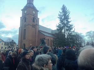 Mellan 300 och 400 människor samlades i lördags på Stora Torget i Falun för att protestera mot rasism och nazism.