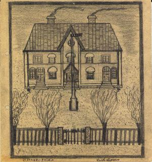 Östanbo skola. Teckningen  ingår i Karl-Erik Nygrens samling skolbilder från Östanbo skola som omfattar åren 1932-1934.