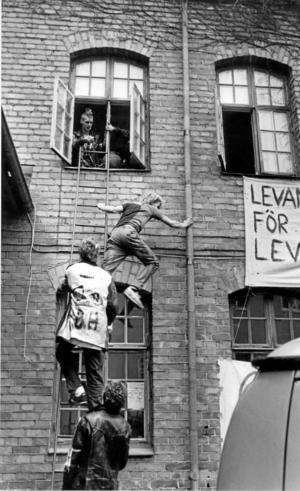 """Ockupationen. Knutsgatan 7 i Västerås ockuperades i maj 1982. Alla måste ta sig in via stegar i ockupationsromantisk anda. Politikerna slapp, efter stor tvekan släpptes de in genom dörren, för samtal med ungdomarna. Senare """"stormade"""" polisen och huset revs.Foto: Göran Widerberg"""