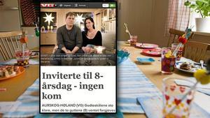 ingen kom. Norska Verdens Gang berättade om födelsedagskalaset som ingen kom till, trots 13 inbjudna kompisar. Bakgrundsbild: Henrik Montgomery/Scanpix. Bilden är ett montage.