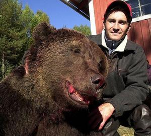 Den här björnen sköt Johan Åkerlund i Resele år 2003. Nu vill jägarna utöka jakten på björn i länet med 25 procent.