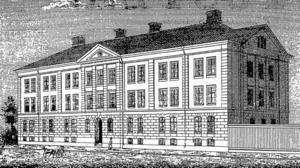 SÖDERTULL. Det nya fattighuset som byggdes i Gävle 1881 var en imponerande byggnad. Åtminstone om man jämför med hästskjutsen nere till vänster på den här bilden.