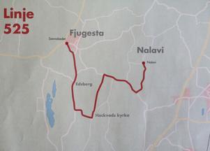 Nya linje 525 går bara mellan Fjugesta och Nalavi via Hackvad och Edsberg. I Nalavi är det stopp för vidare resa mot Örebro.