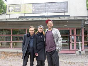 Ny konstnärlig ledartrio på Folkteatern Gävleborg: Erik Uddenberg, Kajsa Isakson och Mattias Brunn.