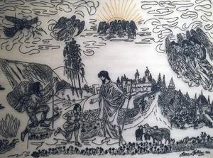 Selma Nyström var djupt religiös, aktiv i Frälsningsarmén och gjorde utsökta små broderade tavlor med motiv hämtade ur