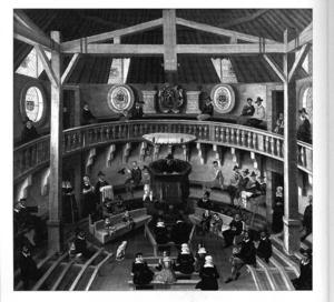 Hugenotternas predikolokal Paradiset i Lyon. Predikstolen i centrum och på läktaren, staden Lyons vapen.
