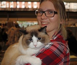Kattan vad hemskt med utställning. Daisy är på sin första kattutställning tillsammans med matte Elin Carlsson från Gränna. Daisy var spänd och kopplade av först i mattes famn. Domaren sade att det kommer gå bättre nästa gång när Daisy vant sig.