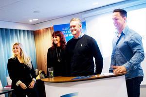 På onsdagen offentliggjorde tre Östersundsföretag sitt köp av Svenska Hälsocampen – grundat av Martin Lidberg. Fristilen med Frida Stein och Stina Bergsten är en av köparna och syns till vänster i bilden. VD blir Joar Båtelsson, i mitten, från Spinto Sweden AB.