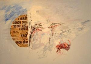 Elisabeth Hermodssons feministiska och politiska konst visas på Galleri S. Bilden visar ett utsnitt ur ett verk.