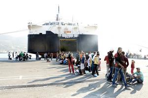 Flyktingar på ön Samos i Grekland.