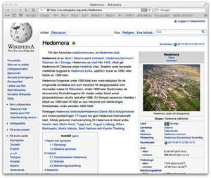 Skärmdump som visar en del av artikeln Hedemora på Wikipedia som Carl Eklund har skrivit och konstruerat.