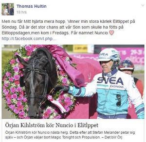 Thomas Hultin fick snabbt många gillamarkeringar på sitt inlägg på Facebook.