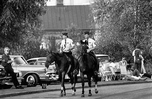 Favorit i repris. Ridande polis användes under Power meet redan 1985. Här syns poliserna Stefan Malm och Lars Hansson från Stockholmspolisen. 1985 drog hästekipagen ner spontana applåder.