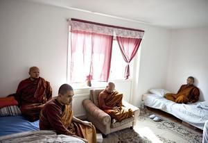 Skötte invigningen. Här är fyra av de tio munkar som invigde Tiratana buddhisttempel och kloster. Närmast till vänster är U Nandasara som är chefsmunk och som ska bo i klostret hela tiden.