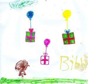 ballongklappar. Ner från himlen faller julklapparna med ballong, ritat av Bibbi.