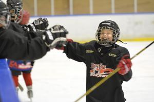 Så här glad blir man när Husum gjort mål. Husums U10 spelade en jämn och spännande hemmamatch mot Höga Kusten Hockey.