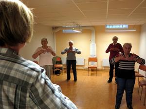 Propellervridning, pil och båge, knärotation, ögonvridning ... Till harmonisk musik genomförs det timslånga qigong-programmet enligt en väl inövad manual. De stillsamma rörelserna sägs ha både fysisk och psykisk inverkan.