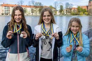 Victoria Flyman, Elsa Bergh och Clara Bergh från Söderhamns SS.