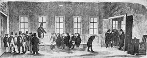 Koncilium. Denna unika bild från Gävle gymnasium är en minnesbild av hur det kunde se ut. Bilden är från 1874. Tecknaren har missat det faktum att gymnasisterna enligt stadgan för Gävle gymnasium skulle ha vita höga hattar.