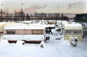Husvagnslägret i Sundsvalls hamn.