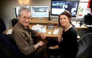 Martin Hunter, filmklippare från Hollywood,  och Anna Olovsson från Söderbärke  jobbar just nu med filmen Prinsessa i en lokal på Film i Dalarna på Dalregementet. FOTO:STAFFAN BJÖRKLUND