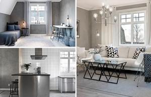 Lägenheten är stylad helt i grått och vitt. Foto: Hoome mäkleri