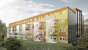 Så här är det tänkt att de två flerfamiljshusen i Kvissleby ska se ut. Mellan dem skapas en inglasad gård.