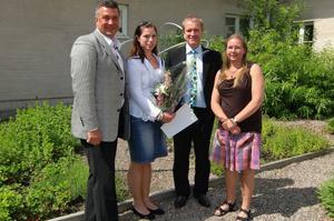 Från vänster,Anders Lundell, Sandvikens kommun, Ann-Sofie Flodberg, Jimmy Rödlund, Sandvikens kommun och Fredrika Nordahl Westin, stipendiehandläggare Högskolan i Gävle.