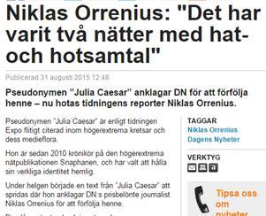 Niklas Orrenius i Dagens Media måndag 31 augusti.
