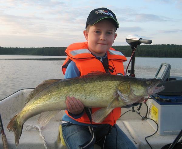 När Viggo var på fisketur i Småland med pappa Hans och morfar Sixten lyckades han fånga och dra upp denna fina gös på 4,7 kg. Viggo är 6 år och bor på Skälby i Västerås.