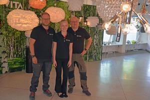 Alexander Olsson, Patricia Olsson – och pappa Leif Olsson, som är vd och ägare av El- och Säkerhetsbutiken.