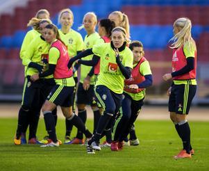 Det svenska damlandslaget i fotboll under en träning.