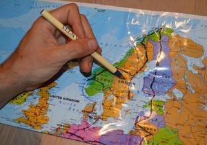 Kartan med den tänkta cykelrutten genom Europa.Foto: Anders Forselius