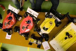 Tävlingsbilar visades för besökarna.