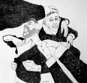 Helene Geddas tolkning av Tommy Östmars Big Bang, en av fyra konstnärers sätt att uppfatta samma bild.