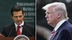 Mexikos president Enrique Peña Nieto och USA:s president Donald Trump är inte överens om att bygga en mur utmed Mexikos gräns.