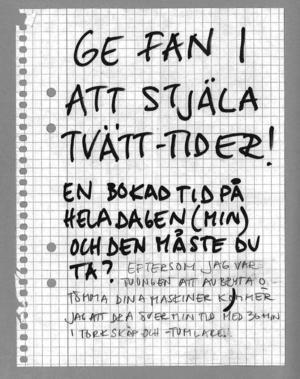 En av alla  de arga lappar som skickats in till Nordiska museet.Foto: Nordiska museet