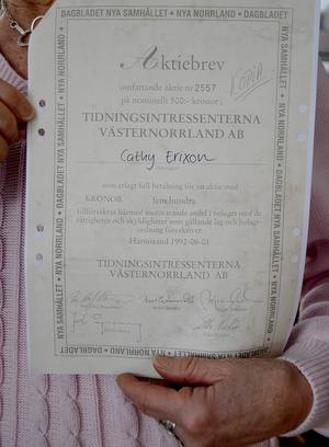 Som prenumerant blev Cathy Erixon erbjuden att köpa aktier för 500 kronor styck för att rädda Dagbladet.