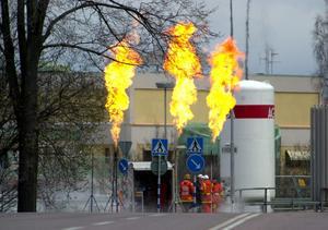 Avfackling efter gasololyckan i Borlänge i april 2000.