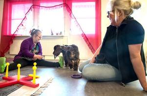 Ingrid får besök av vårdhundsteamet en gång i veckan. Här en övning där Ingrid kastar ringen och ber Morris hämta den. Hon berömmer och delar ut godis, och tränar på så sätt både koordination och socialt samspel.