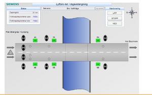 Översiktsbild för bommar, lysen och säkerhetsanordningar för motorvägsbron över Södertälje kanal.