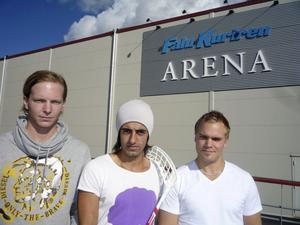 Vass hälsingetrio med en fin arena, från vänster: Kristoffer Asp, Ciya Hajo och Patrik Malmström. På måndag startar Superligan.