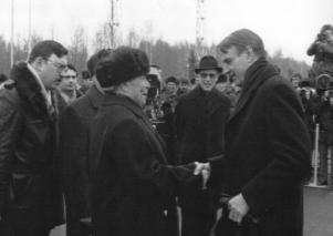 Brezjnev välkomnar Koivisto till Moskva 1982.