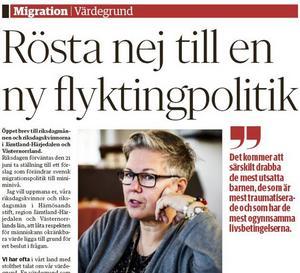 Biskope Eva Nordung Byström vill inte ha den nya flyktingpolitik som är på förslag. Men Moderaternas riksdagsledamöter Lohman och Asplund tycker det är nödvändigt att skärpa lagstiftningen.