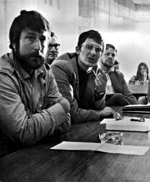 """1970. Tillsammans med Johan Bergenstrålhe (vänster) efter premiären på Baltutlämningen""""."""