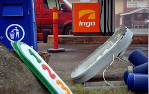 Statoils varumärke plockas bort från pumparna vid Ica Supermarket i Ånge för att ge plats för Ingos logotyp.