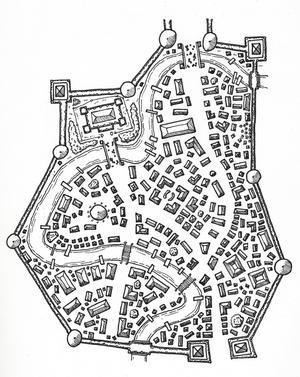 En karta över en stad där LoL kan utspela sig. Där finns spelets mest centrala plats, den sjaviga syltan Åhdran Inn.