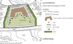 Karta över det tänka äldreboendet. Sex villor ligger i direkt anslutgning till området. Karta: V-Dala bygg och miljöförvaltning.